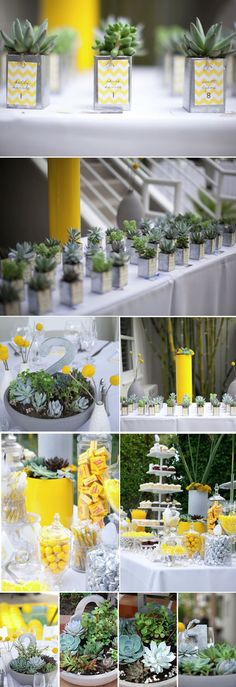 Great table decorations.  These can be made weeks in advance - great DIY project with friends (& the girls!).