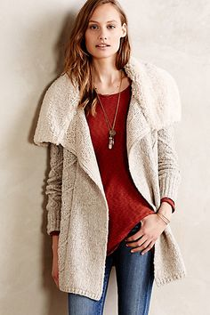 Sleeping on Snow Bondurant Sherpa Cardigan - my husband got me this for xmas and it is LOVELY! Cable Knit Cardigan, Uk Fashion, Fashion Outfits, Fasion, Winter Fashion, Sweater Sale, What To Wear, Knitwear, Outfits