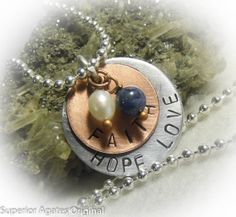 Love Hope Faith Hand Stamped  Pearl Necklace  by superioragates, $8.00