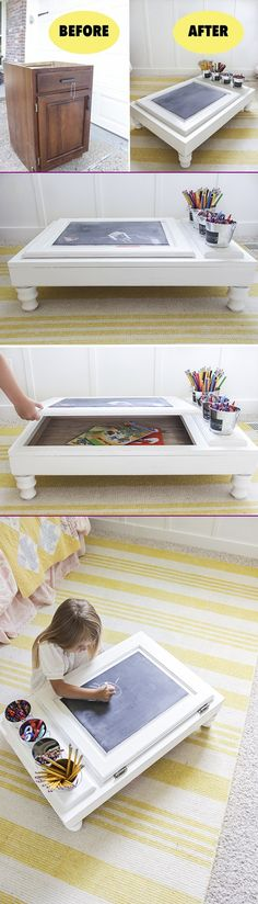 Turn Cabinet Door Into Art Desk Tutorial #Crafts, #Furniture, #Recycle =>http://www.fabartdiy.com/how-to-make-art-desk-from-cupboard-door/