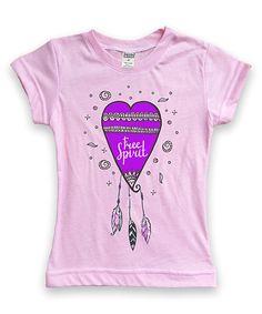 Light Pink Heart 'Free Spirit' Crewneck Tee - Toddler & Girls