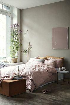 33 Comfy Scandinavian Bedroom Interior Design - Page 7 of 35 Gray Bedroom Walls, Bedroom Wall Colors, Bedroom Green, Grey Walls, Home Bedroom, Bedroom Furniture, Bedroom Rustic, Ikea Bedroom, Bedroom Ideas