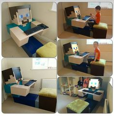 Guy made this Minecraft PC for his kid<<< He got some things wrong, but it's still cool. Minecraft Bedroom Decor, Minecraft Room, Cool Minecraft, Minecraft Crafts, Minecraft Party, Minecraft Furniture, Minecraft Skins, Minecraft Buildings, Minecraft Banner Designs