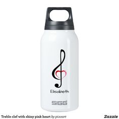 Treble clef with shiny pink heart insulated water bottle
