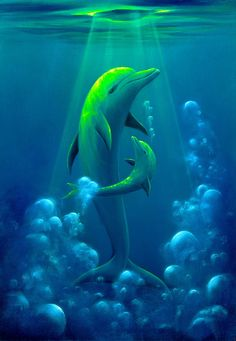 Painting of dolphin baby happy with its mother. Dolphin Images, Dolphin Photos, Dolphin Painting, Dolphin Art, Mythical Creatures Art, Ocean Creatures, Beautiful Sea Creatures, Beautiful Birds, Baby Animals Pictures