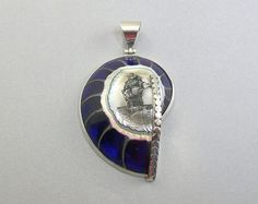 Sterling Silver and Deep Purple Nautilus Shell by lindalayden