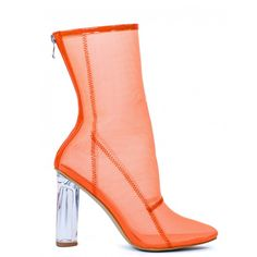 HEARTLESS ORANGE MESH ANKLE BOOTS WITH PERSPEX HEEL ($52) ❤ liked on Polyvore featuring shoes, boots, ankle booties, clear heel booties, block heel bootie, orange booties, block heel booties and high heel bootie
