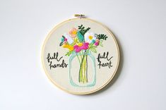Full Hands Full Heart. Hoop Art for Mom. Handmade 8 inch Embroidery Hoop Art Home Decor. Made to order.