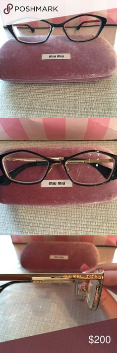 Min Miu Eyeglasses Prescription eyeglasses with rounded pentagon shape. Black metal frame . In great condition worn a handful of times. Miu Miu Accessories Glasses