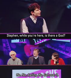 Simon Amstell and Stephen Fry during Never Mind the Buzzcocks. Hilarious, and philosophical. British Humor, British Comedy, Simon Amstell, Famous Atheists, Atheist Quotes, Atheist Humor, Little Britain, Film Games, Noel Fielding