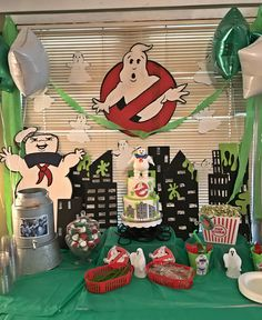 Ghostbusters theme party table scape
