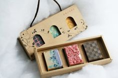Natural Handmade Soap Gift Set  3 Beautiful cold by OneLeafSoap