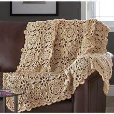 Mary Maxim - Flower Motif Throw - Crochet Afghans - Afghans - Knit & Crochet