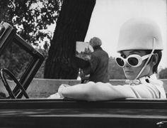 """Audrey Hepburn on the set of """"How to Steal a Million"""" dir. William Wyler (1966) by Pierluigi Praturlon."""