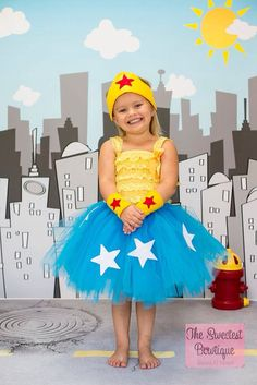 wonder woman Inspired Tutu birthday party Halloween chunky necklace girls tutu dressphoto props