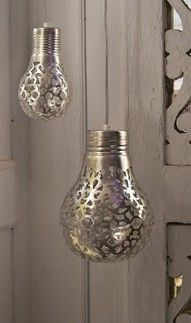 Lace covered bulbs with metallic paint... uh Cool?