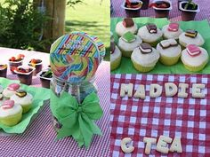 Gummi worms in pudding; book cupcakes