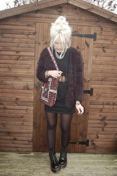 Yesstyle Furry Jacket, Front Row Shop Cut Out Dress, Dr. Martens Jadon Boots