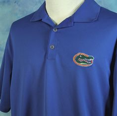 NIKE Golf Fit Dry UF University of Florida GATORS Polo Shirt Mens L Blue Orange #NikeGolf #PoloRugby