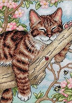 Dimensions Needlecrafts 65090 Napping Kitten Counted Cross Stitch Kit