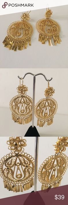 Frida Mexican filigree earrings Gold plated Frida Mexican filigree earrings Gold plated 2 3/4 length approx. mexican Jewelry Earrings