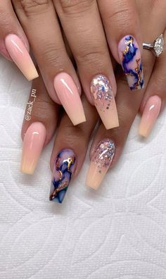 Top 76 french ombre glitter marble and crystals on long coffin nails 72 Best Acrylic Nails, Summer Acrylic Nails, Summer Nails, Glam Nails, Hot Nails, Nail Swag, Fire Nails, Coffin Nails Long, Nagel Gel