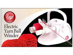 Boye Yarn Accessories ElectricYarn Ball Winder - An electric yarn ballwinder that is fully automatic. It eliminates handwinding and easily winds hanks of yarn into center-pull skeins. It will create flat bottom balls that stack neatly. You can rewind messy partial skeins into a tidy center-pull skeins. Wind thin yarns together to create custom sizes and colors. Labor-saving motor means less stress on arms, hands and wrists. The Rheostat allows wind-rate to be adjusted as needed. It is approxi...