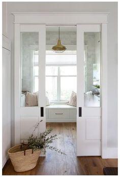 French Pocket Doors, Glass Pocket Doors, Glass Panel Door, Sliding Glass Door, Double Pocket Door, Doors With Glass Panels, Glass Doors, Sliding Pocket Doors, Living Room White