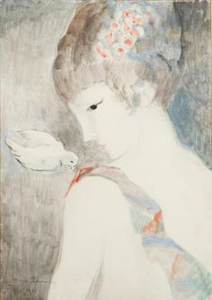 Girl with a bird, by Marie Laurencin (French, 1883 - Georges Braque, 3 Arts, Art Moderne, Portrait Art, Portraits, French Artists, Figure Painting, Illustration Art, Illustrations