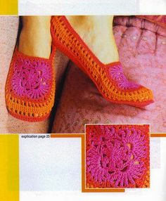"""Crochet slippers.  Someone make me these please.  And, by """"someone"""" I mean MOM!!! Toni Gervasone"""