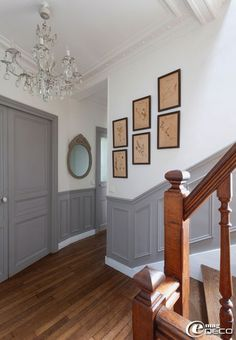 Staircase under gray basement - corridor 2019 Gray Basement, Neoclassical Interior, Hallway Decorating, Wainscoting, Interior Design Living Room, Sweet Home, New Homes, House Design, Furniture