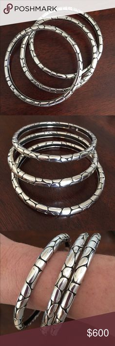 John Hardy Kali set 3 John Hardy Kali bangles.  These are beautiful and in excellent condition!!! John Hardy Jewelry Bracelets
