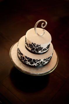 2 tiered black and white damask wedding cake