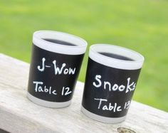 """Chalk up this trendly tealight holder wedding favor to fabulous design! """"Chalkboard"""" Frosted-Glass Tealight Holder (Set of Four) These adorable favors double as place card holders and fun table decor."""