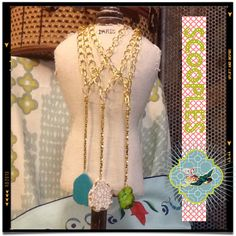Scooples Jewelry!  Love it!  Golden Drop Rock- turq-cream-green!!