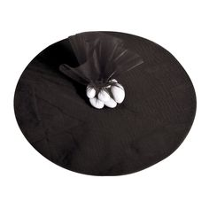 Black Tulle Circles - OrientalTrading.com; add in tag and we're good to go for favors... if we have favors