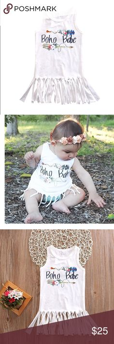 My Beauty Boho Babe fringed tank dress Soft knit. Fringe detail at hem. Sizes 12-2mos through 4T. Cute with shorts, leggings, or on its own. Dresses Casual