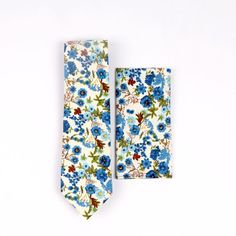 Ties And Pocket Square Set, Prom Ties Unique, Unique Ties For Prom, Wedding Ties And Pocket Square Set, Blue Floral Mens Ties Set Mens Ties Crafts, Mad Hatter Hats, Kentucky Derby Hats, Wedding Ties, Tie And Pocket Square, Tie Set, Tie Knots, Floral Tie, Floral Prints
