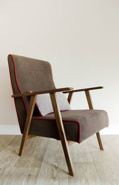 Perfect for any interior. Carefully restored and upcycled mid century armchair which comes with a cushion and creates style and comfort in any room – a unique product by Modoohome via en.DaWanda.com #brown