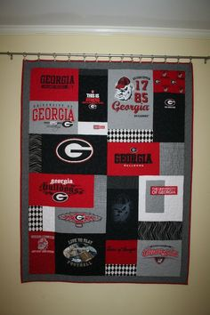 UGA T-shirt Quilt custom made by Tees2Treasure.com of Marietta, Georgia.  Turn those lovely old t-shirts from your college days into a warm and modern version of a t-shirt quilt! Priced from $290.00 which includes design, piecing, batting, quilting and finishing.