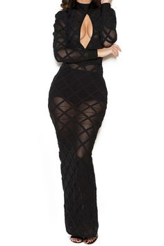 Black Sheer Mesh Bandage Dress Maxi Dress KL1005 - Kiss-Her Clothing. A professional fashion dress supplier.