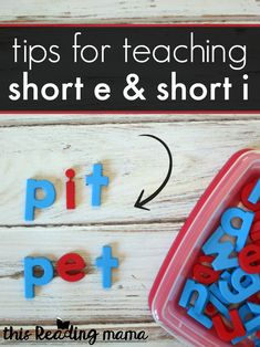 Tips for Teaching Short e and Short i - This Reading Mama Teaching Phonics, Free Teaching Resources, Teaching Reading, Teaching Ideas, Reading Tutoring, Reading Resources, Guided Reading, Short I Activities, Short E Sound