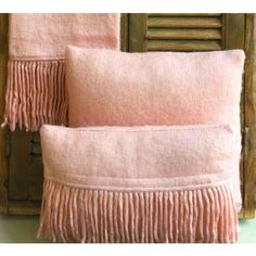 Blush Pink Fringy Cushion with feather pad. French Bedrooms. Romance.