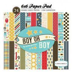 24 obojestranskih papirjev 15x15 cm za fante Boy oh boy Carta Bella