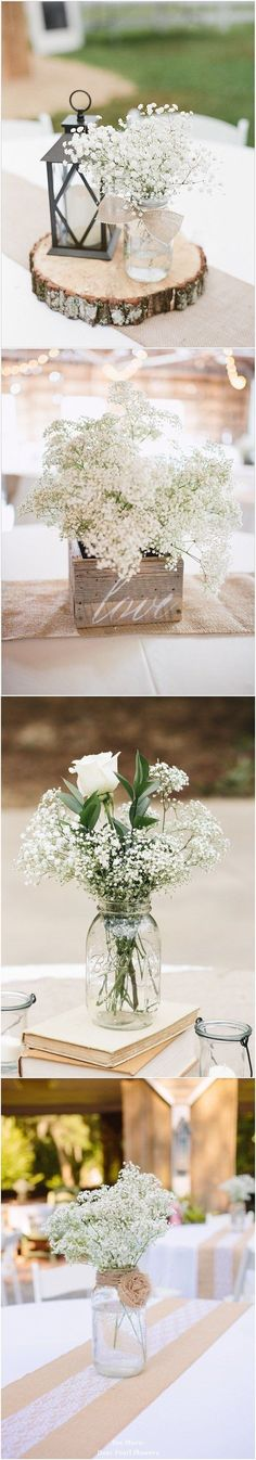 New Diy Wedding Centerpieces Mason Jars Center Pieces Babies Breath Ideas Rustic Wedding Centerpieces, Wedding Table, Diy Wedding, Dream Wedding, Wedding Decorations, Wedding Ideas, Trendy Wedding, Wedding Themes, Simple Centerpieces