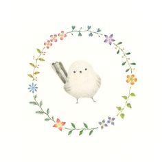 """Little White Bird and Wreath"" −RiLi, picture book, illustration, design ___ ""白色の小鳥と花の輪"" −リリ, 絵本, イラスト, デザイン ...... #illustration #bird #white #wreath #イラスト #鳥 #白 #花輪"