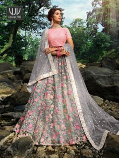 Rs7,800.00 Party Wear Lehenga, Saree Shopping, Latest Sarees, Indian Wedding Outfits, Lehenga Choli, New Trends, Wedding Designs, Gray Color, Bridal