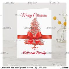 Shop Christmas Red Holiday Tree Ribbon Bow Custom Name created by LeonOziel. Holiday Tree, White Christmas, Holiday Cards, Christmas Cards, Ribbon Bows, Create Your Own, Place Card Holders, Seasons, Modern