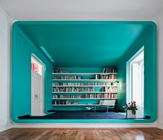 Rounded corners, teal paint colour. nice