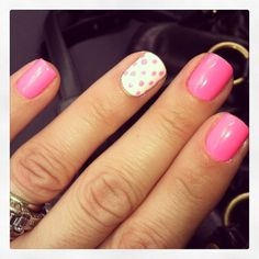 Poka a dot nails!! Gelish manicure #vanitysalon #downtownplymouth #aleaahbishop